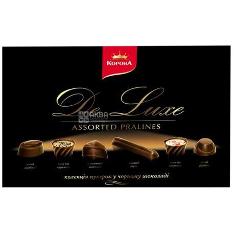 Корона, 146 г, цукерки, в чорному шоколаді, Де Люкс