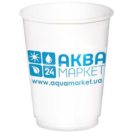 АкваМаркет, 180 мл, 10 шт., стакан бумажный, белый, с логотипом