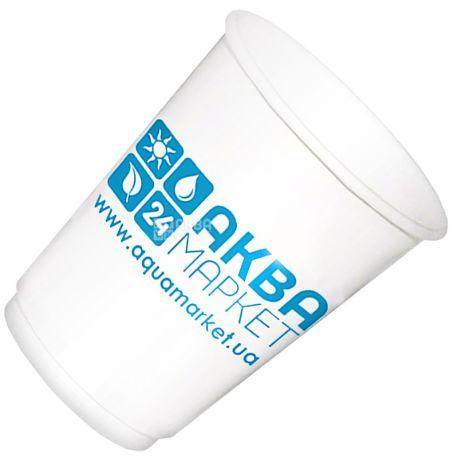 АкваМаркет, 180 мл, 10 шт., стакан паперовий, білий, з логотипом