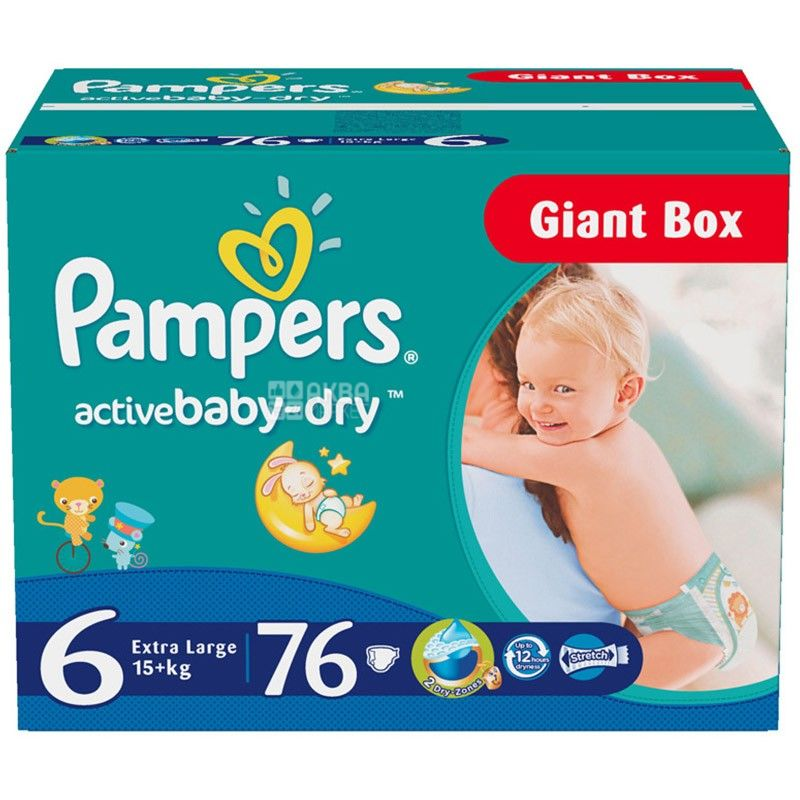 Pampers, 6 / 76 шт. 15+кг, подгузники, Active Baby Extra Large Giant
