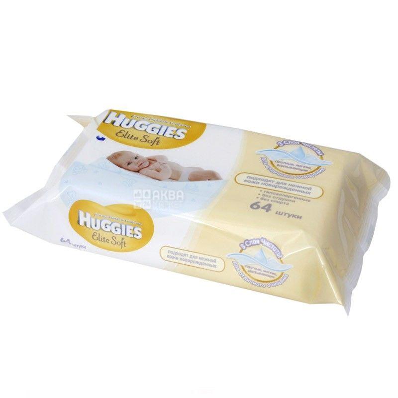 Huggies, 64 шт., салфетки влажные, Elite Soft