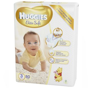 Huggies, 80шт. 5-9кг, подгузники, elite soft, mega pack