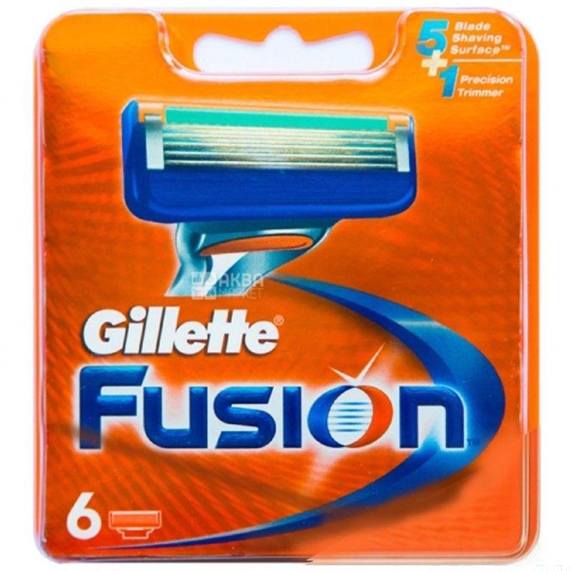 Gillette, 6 шт., картриджі, Fusion