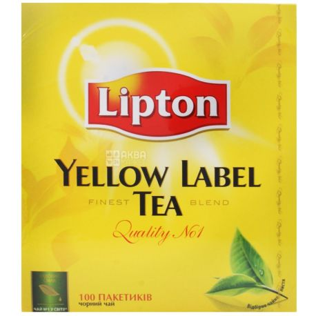 Lipton, Yellow Label, 100 пак., Чай Ліптон, Чорний