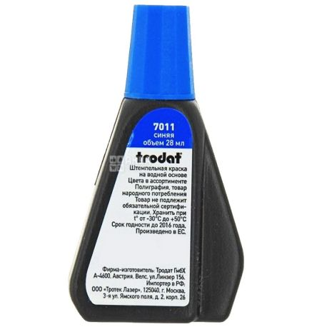 Trodat, 28 ml, stamp paint, Waterbased, Blue, PET