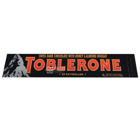 Toblerone, 100 г, Чорний шоколад, З нугою з меду та мигдалю