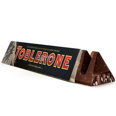 Toblerone, 100 г, Черный шоколад, С нугой из меда и миндаля