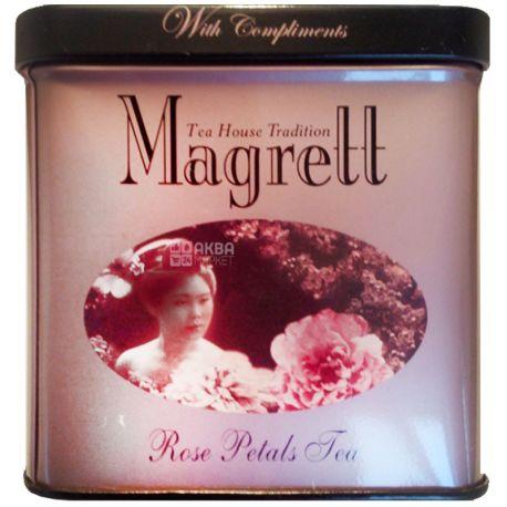 Magrett, 100 г, чай, чорний, з пелюстками троянди, залізна банка