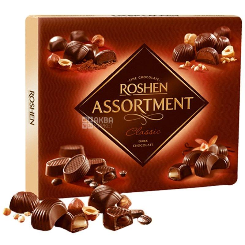 Roshen, 154 г, цукерки, в чорному шоколаді, Assortment Classic