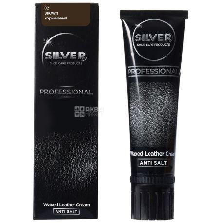 Silver, 75 мл, крем-фарба для взуття, Коричнева, тубус