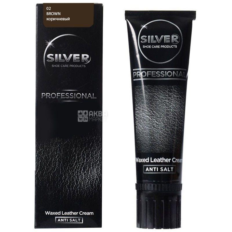 Silver, 75 мл, крем-краска для обуви, Коричневая, тубус