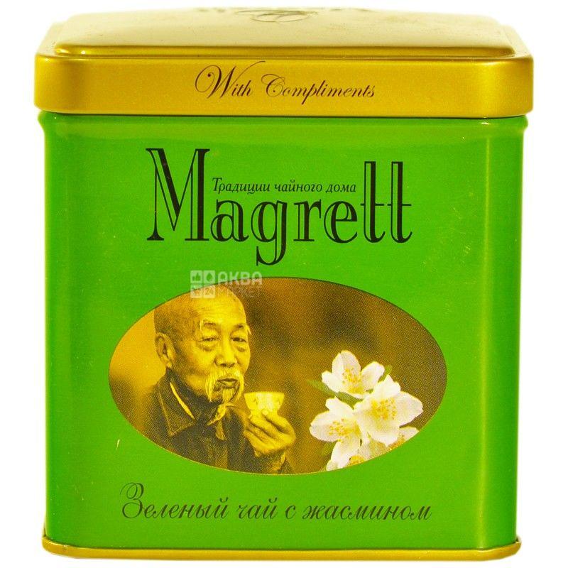 Magrett, 100 г, чай, зелений, Green Jasmin, залізна банка