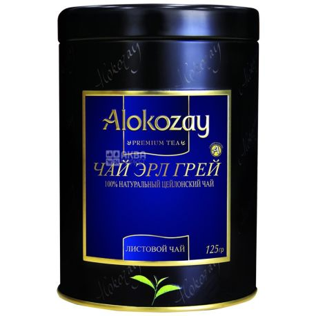 Alokozay, 125 г, чай черный, Эрл Грей, железная банка