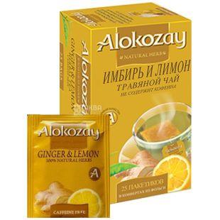 Alokozay, 25 шт., чай травяной, Имбирь и лимон