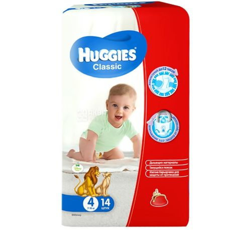 Huggies, 4 / 14 шт. 7-18 кг, подгузники, Classic Small