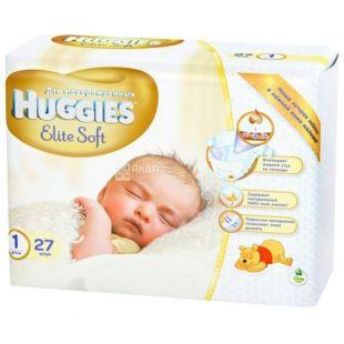 Huggies, 1 / 27 шт. 1-5 кг, подгузники, Elite Soft  Small
