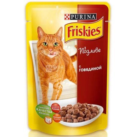 Friskies, 100 г, корм, для котов, с говядиной в подливе