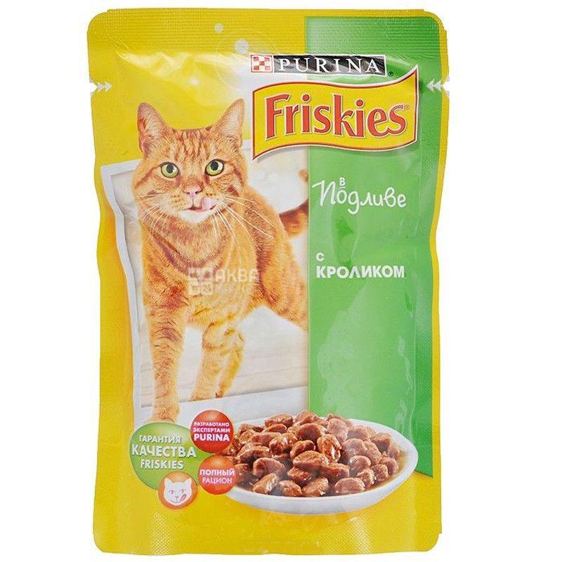 Friskies, 100 г, корм, для котов, с кроликом в подливе