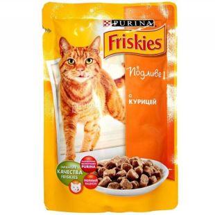 Friskies, 100 г, корм, для котов, с курицей в подливе