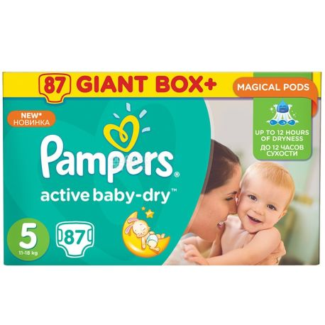 Pampers, 87 шт., підгузники, 11-18 кг, Active Baby-Dry