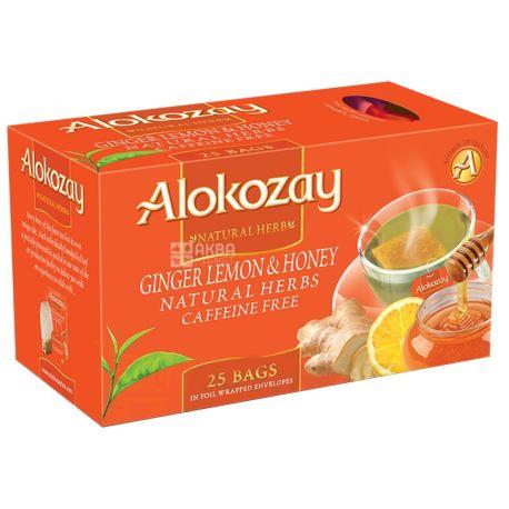 Alokozay, 25 пак, Чай травяной Алокозай, Имбирь, мёд и лимон