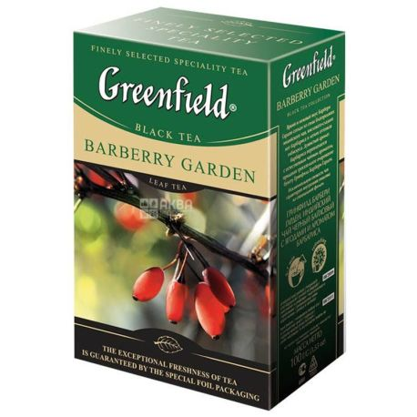Greenfield, Barberry Garden, 100 г, Чай Грінфілд, Барберри Гарден, чорний з барбарисом