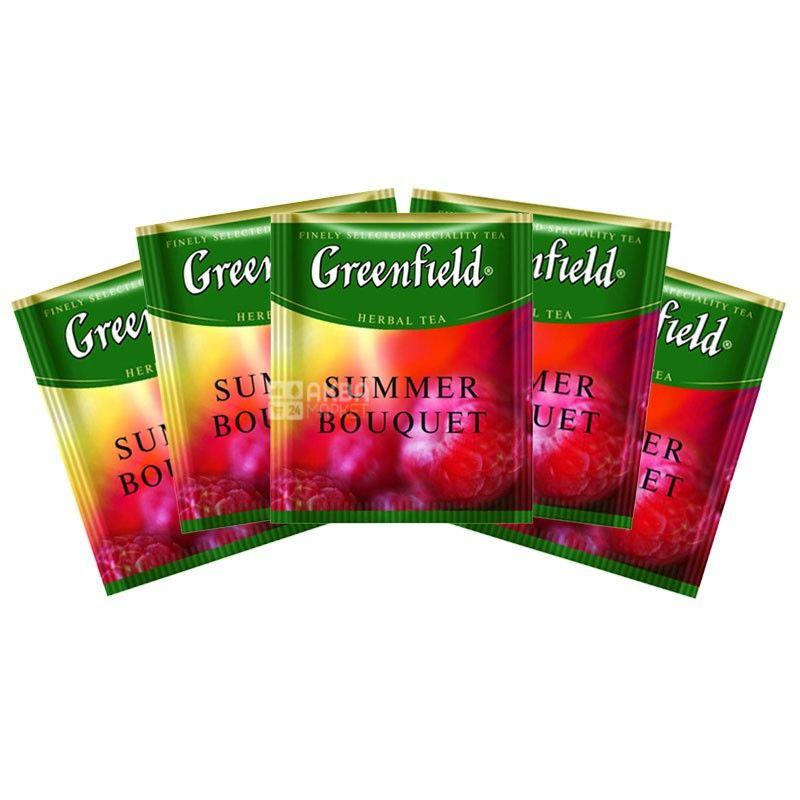 Greenfield, Summer Bouquet, 100 пак., Чай Грінфілд, Саммер Букет, трав'яний з малиною, HoReCa