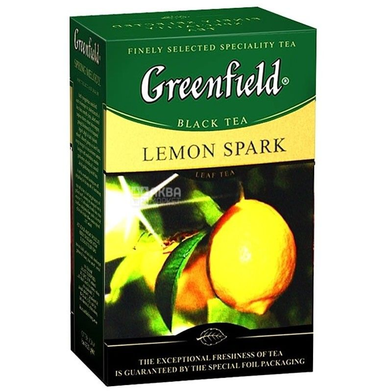 Greenfield, Lemon Spark, 100 м, Чай Грінфілд, Лемон Спак, чорний з лимоном