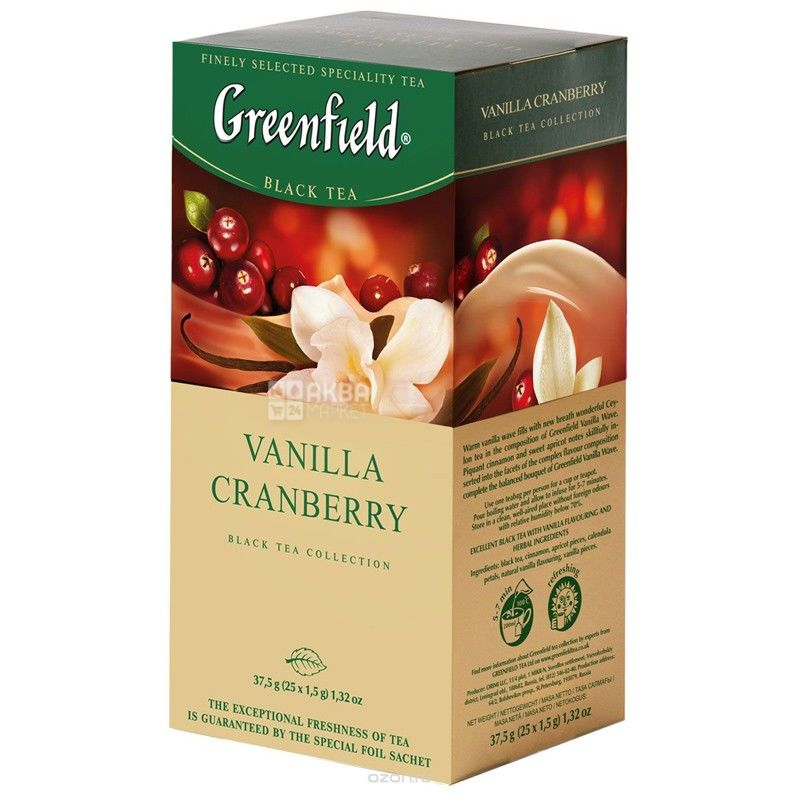 Greenfield, Vanilla Cranberry, 25 пак., Чай Гринфилд, Ванилла Кренберри, черный с ароматом ванили