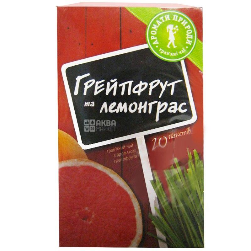Аромати Природи, 20 шт., чай трав'яний, Грейпфрут та лемонграс