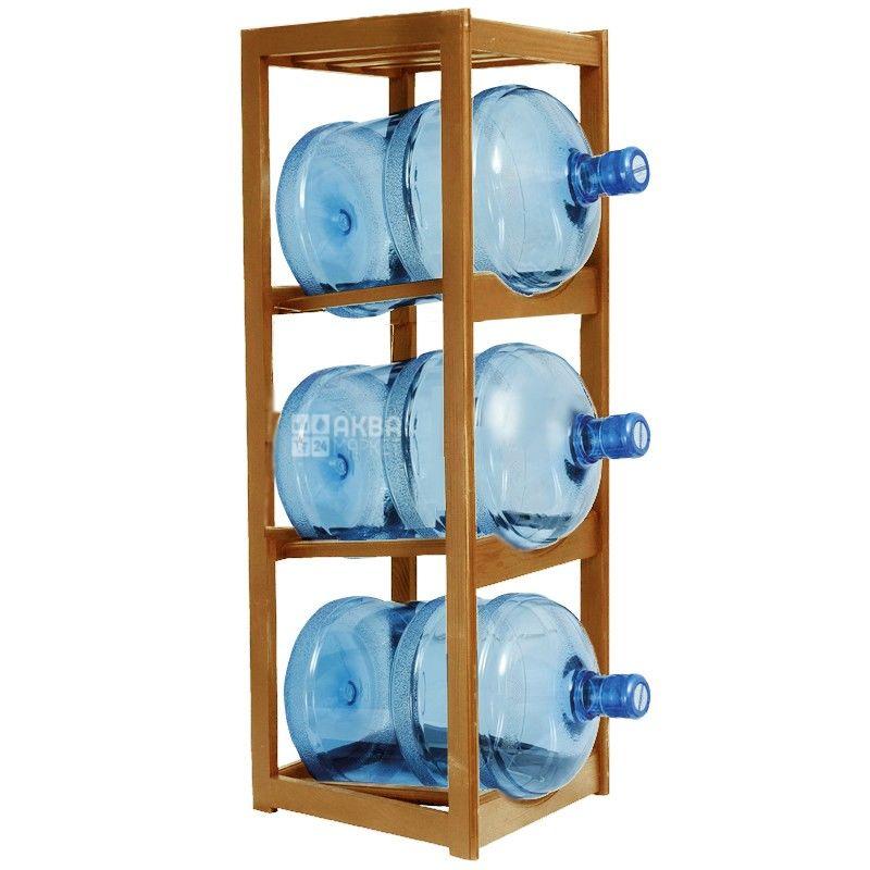 Полка стеллаж деревянная под 3 бутыли воды, WS-3 ВИШНЯ