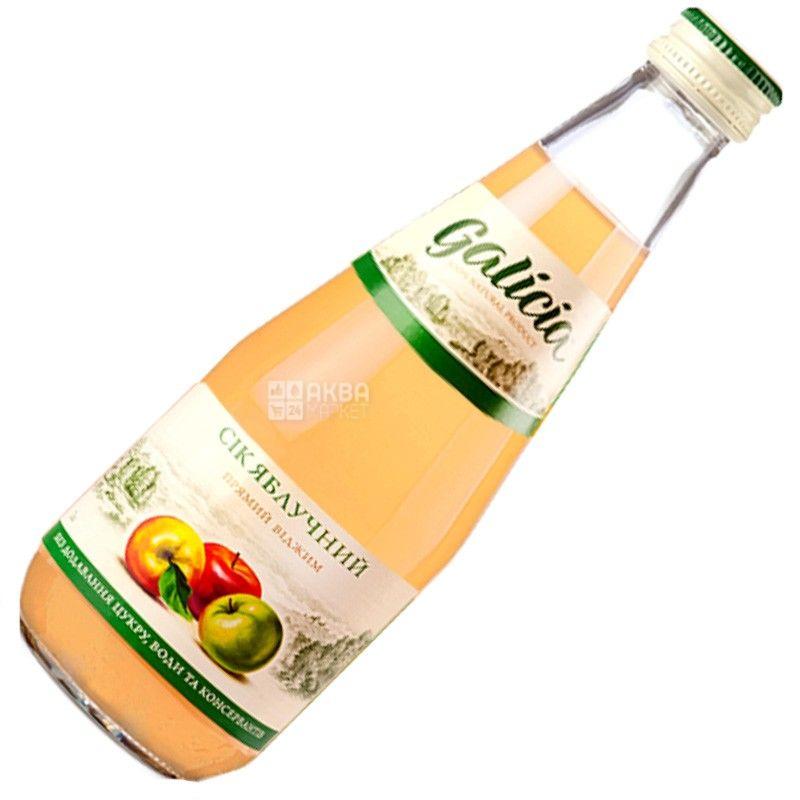 Galicia, Яблучний, 0,3 л, Галичина, Сік натуральний, без додавання цукру, скло