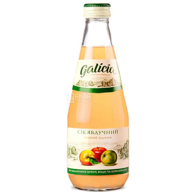 Galicia, Яблочный, 0,3 л, Галиция, Сок натуральный, без добавления сахара, стекло
