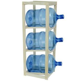 Полка стеллаж деревянная для воды под 3 бутыли, WS-3 БУК