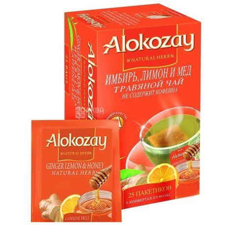 Alokozay, 25 пак, Чай трав'яний Алокозай, Імбир, мед та лимон