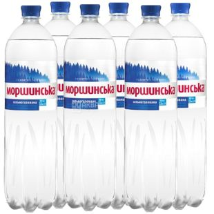 Моршинська, Упаковка 6 шт. по 1,5 л, Вода сильногазована, ПЕТ