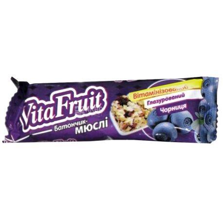 Вітапак, Vita Fruit, 25 г, Вітафрут, Батончик-мюслі, Чорниця