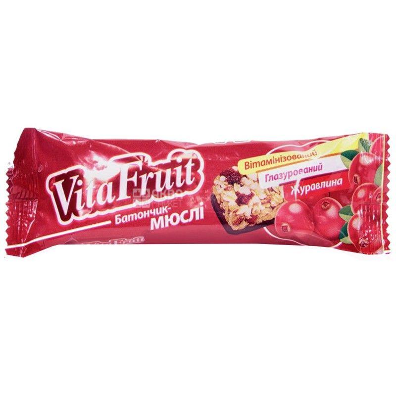 Витапак, 25 г, батончик-мюсли, Vita Fruit, Клюква