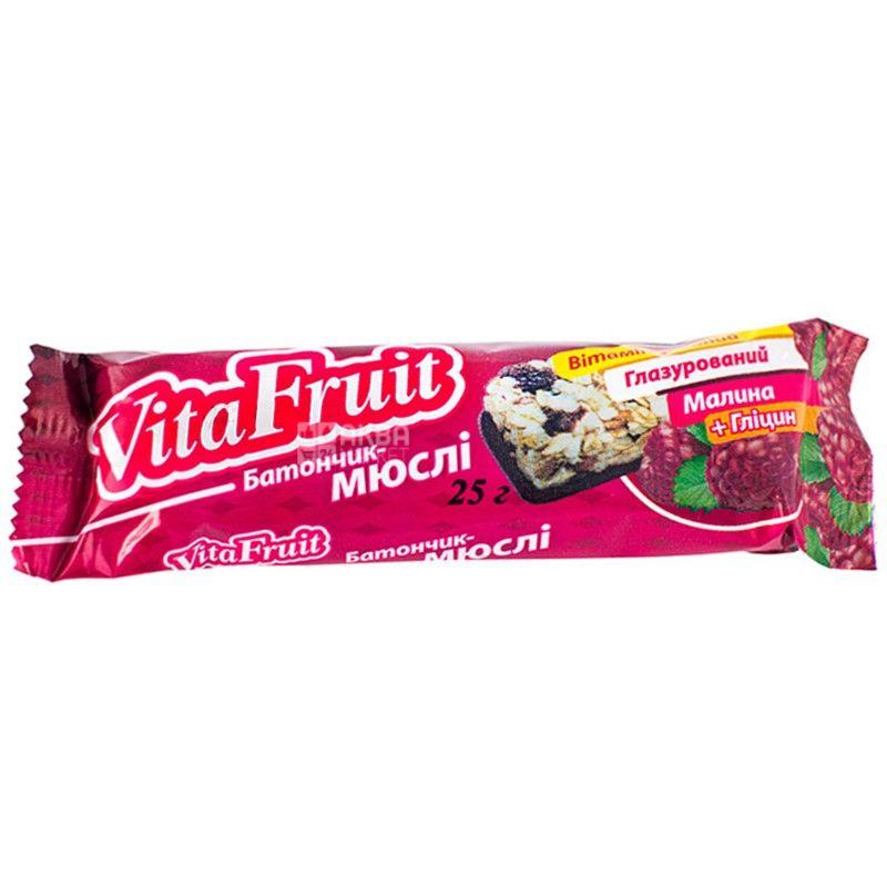 Вітапак, Vita Fruit, 25 г, Батончик-мюслі, Малина