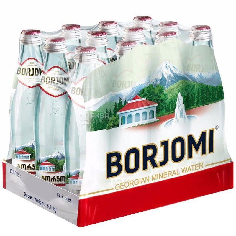 Borjomi, 0,33 л, Упаковка 12 шт., Боржомі, Вода мінеральна сильногазована, скло