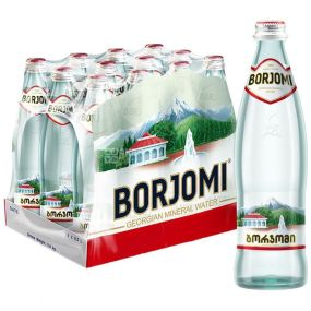 Borjomi, Упаковка 12 шт. по 0,5 л, Вода сильногазована, Мінеральна, скло