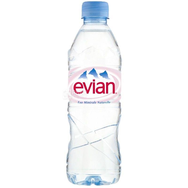 Evian, Упаковка 6 шт. по 0,5 л, Вода негазированная, ПЭТ