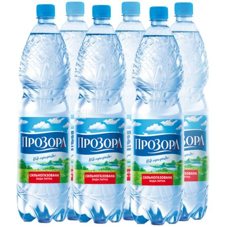 Prozor, packaging 6 pcs. 1.5 l each, highly carbonated water, PET, PAT