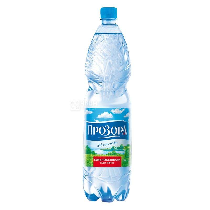 Прозора, 1.5 л, Упаковка 6 шт., Вода мінеральна сильногазована, ПЕТ