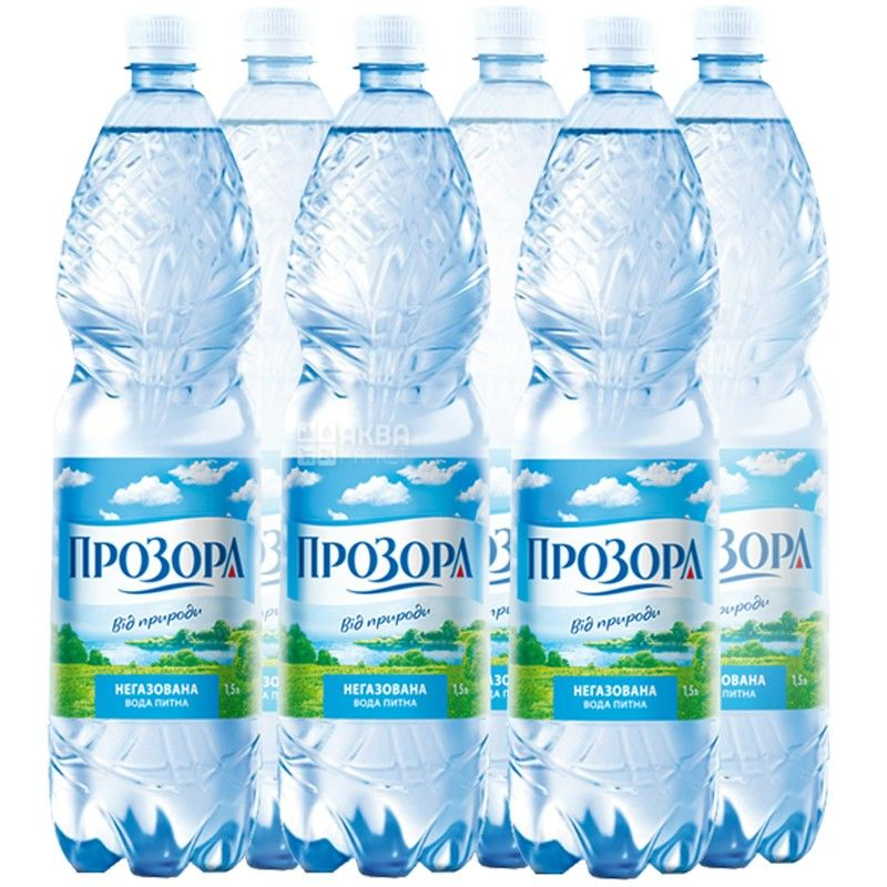 Прозора, упаковка 6 шт. по 1,5 л, негазированная вода, ПЭТ