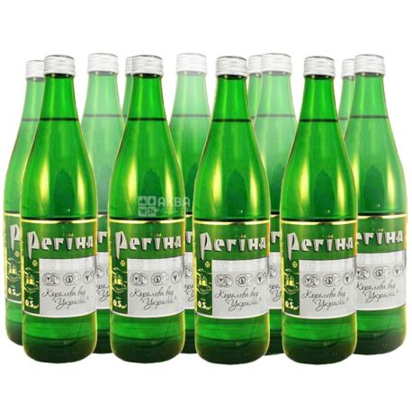 Регина, упаковка 12 шт. по 0,5 л, сильногазированная вода, стекло