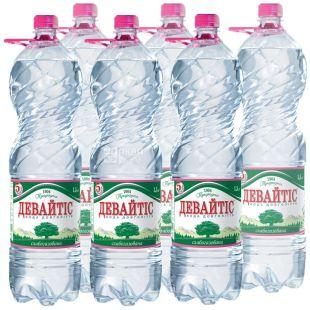 Девайтис, Упаковка 6 шт. по 1,5 л, Вода слабогазированная, Минеральная, ПЭТ