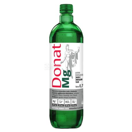 Donat Mg, Вода минеральная сильногазированная, 0,75 л, стекло, Упаковка 6 шт.