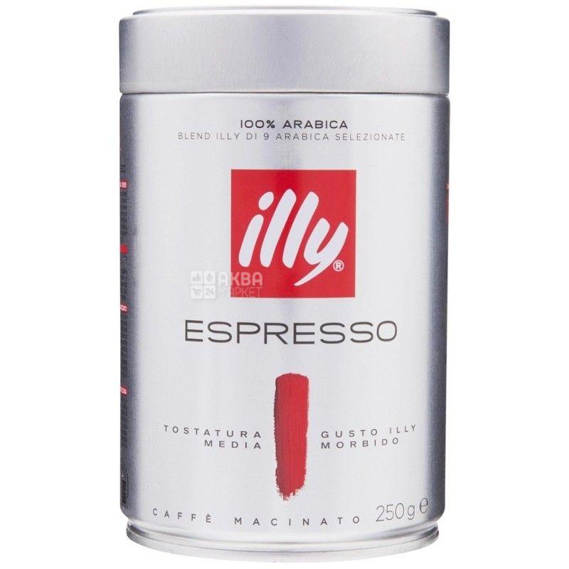 illy Espresso, 250 г, кофе, молотый, средней обжарки, ж/б