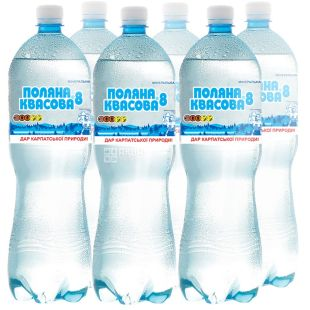 Polyana Kvasova-8, pack of 6 pcs. 1.5 l each, carbonated water, PET, PAT